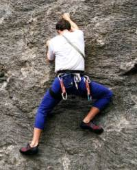 Small picture of Dave free solo climbing at Rumney, NH